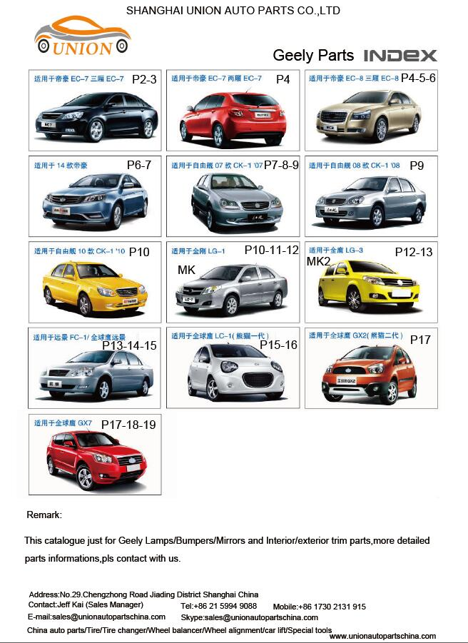 Catalogue just for Geely Lamps/Bumpers/Mirrors and Interior/exterior trim parts